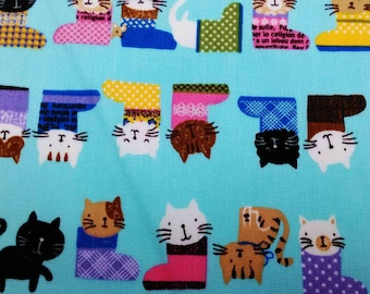 Cats in boots, blue, fat quarter, pure cotton fabric