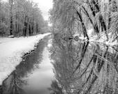 Delaware Canal with Trees and Reflection Winter Landscape Photograph Snow River Black and White Photography Bucks County Pennsylvania Zen