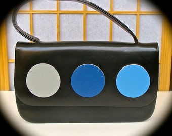Vintage Purse Upcycled with Three Blue circles