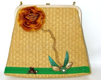 SALE Price-Vintage Purse 1970s UPcycled with Flowers and Frog and Vintage Jewelry