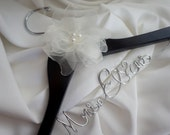 Flower Wedding Hanger, Personalized In Sturdy, Non Tarnish Script