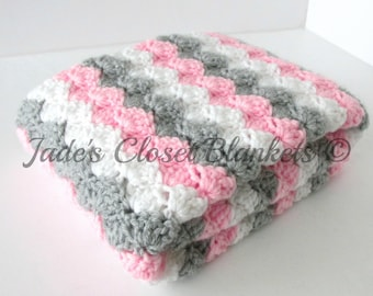 Crochet Baby Blanket, Baby Blanket, White, Grey, and Pink, travel stroller pram size