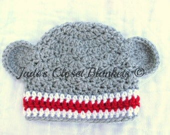 Crochet Baby Beanie Hat, Light Grey, Gray, with White and Red, Monkey Hat, 0 to 18 months