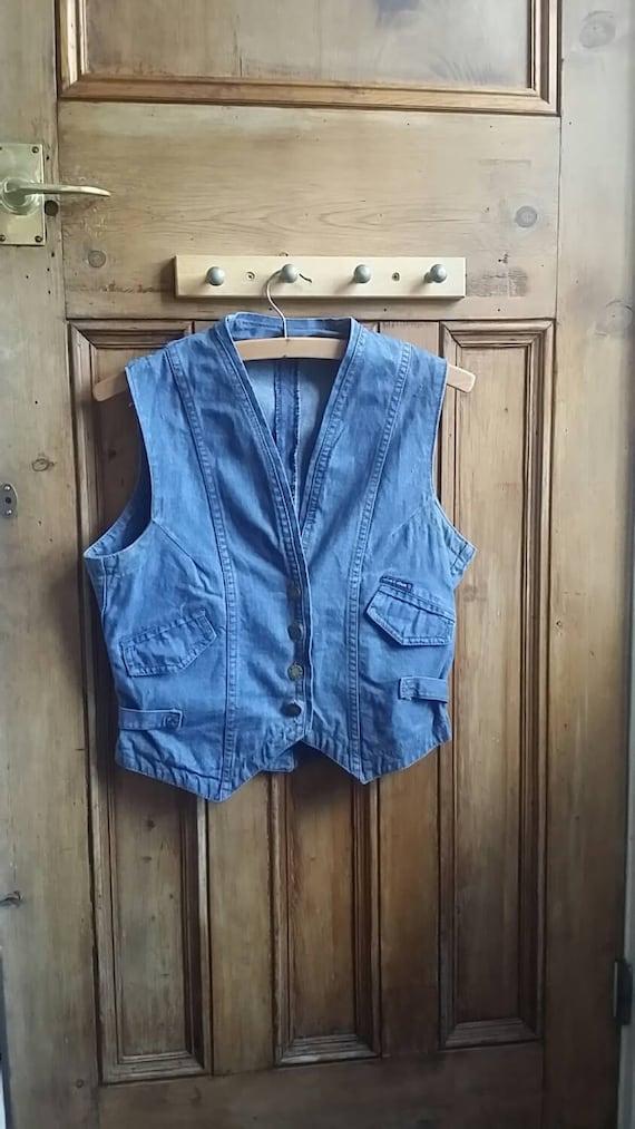 denim waistcoat womens clothes vintage clothing boho classic