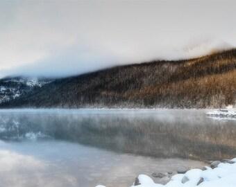 Lake Louise Photography Print 11x14 Fine Art Banff Canada Wilderness Mountain Fog Winter Landscape Photography Print.