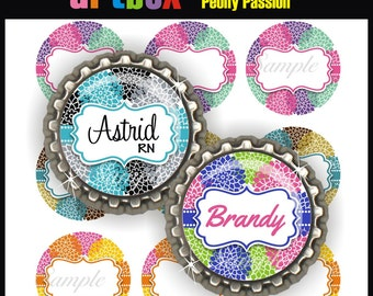 Editable Peony Passion Bottle Cap Images - Printable 4x6 Digital Collage Sheet - BottleCap One Inch Circles for Badge Reels, Hair Bows