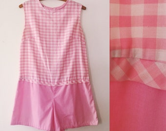 1960s Romper / Pink And White Gingham / 60s Playsuit