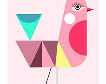 pink bird,modern, mid century, print