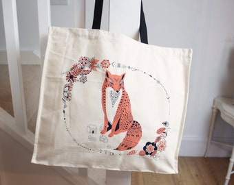Be Leaf Fox Large Canvas Tote Bag