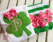 St. Patrick's Day Outfit -- Irish Sweetie -- Shamrock personalized bodysuit -- hot pink and green leg warmers