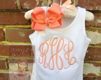 Monogrammed shirt, tank top or bodysuit for girls - Coral Monogram - personalized top with gorgeous coral monogram