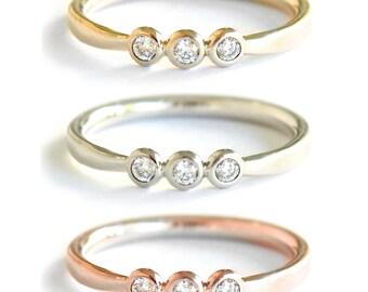 Triple Diamond Band- Solid 14K Gold with Three White Diamonds