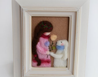 Spring Bunny - Needle Felted - Pastel colors