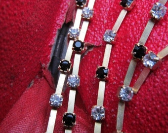 Vintage Crystal And Jet  Swarovski Strech Swarovski  Jointed Chain 18 Inches
