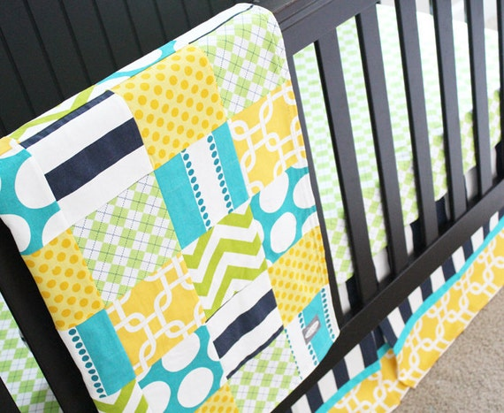 modern baby bedding turquoise yellow navy lime green baby. Black Bedroom Furniture Sets. Home Design Ideas
