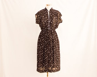 Vintage Sheer Printed Dress with Chinese Style Fastening