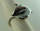 Calla Lily Ring, Unique Adjustable Calla Lily Ring in Sterling Silver, Adjustable Ring, Flower ring, silver ring, Calla Lily Jewelry,
