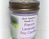 Soy Candle, French Lavender, 8 ounces, Tapered Jelly Jar, Daisy Cut Lid, Purple, Lavender