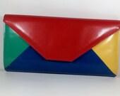 Vintage Color-Blocked Jasmin Snakeskin Clutch Purse Handbag Primary Colors c1980s