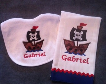 Little Boys Pirate Applique Bib and Burp Cloth Set.
