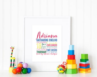 "REMEMBER the day™ Fine Art Print  - 8x10"" Memory Announcement - Birth Story - Keepsake - Custom - Fine Art Print - Multiple Typeface"