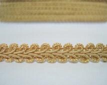 """5 Yards 3/8"""" Gold Gimp Braided Trim, Gimp Braid, Braided Cord, Braided Gimp Trim, Scroll Braid Trim, Gold braided trim, gold trim,gold braid"""