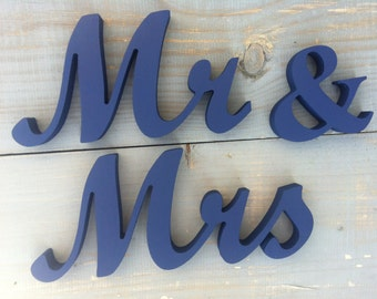 Navy Blue Wedding Signs for Wedding Top Table Mr & Mrs Wooden Letters, Freestanding Mr=Mrs Sign Set, Wedding Decorations