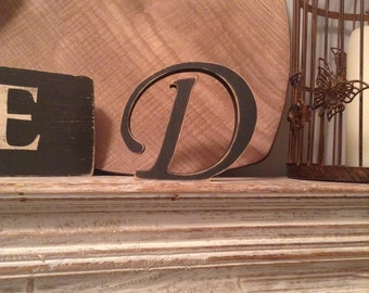 Hand-painted Wooden Letter D - Freestanding - Chancery Font - Various sizes, finishes and colours