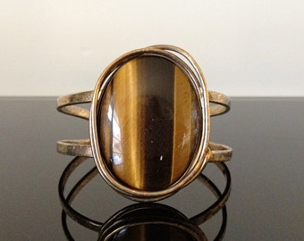 Kenya Sterling Silver and Tiger Eye Cuff Bracelet