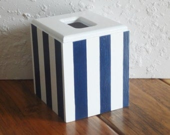 Striped Tissue Cover-Navy Blue and White Tissue Holder - Striped Tissue Cover - Striped Tissue Box - Tissue Holder - Tissue Cover