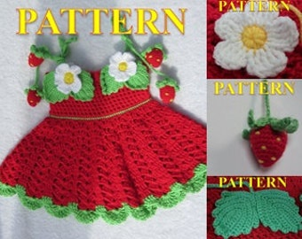 FOUR CROCHET PATTERNS for Baby Girl. Crochet Dress With strawberry decoration (3-12 month)