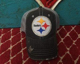 Pittsburgh Steelers State Baseball Football Bling Ladies Womens Trucker Hat