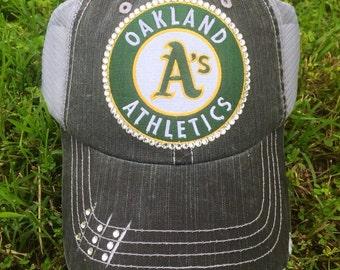 Oakland A's swarovski Baseball Bling Ladies Womens Trucker Hat