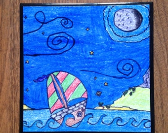 Create Your Own Ceramic Tile Coaster (Art, Drawings)