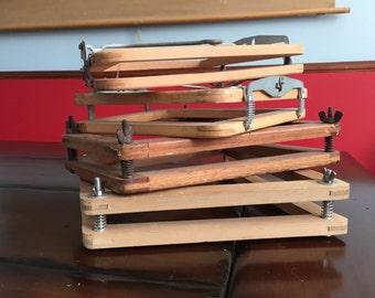 Vintage Wood Tennis Racquet Press -  Kawasaki, Dunlop and more Mid Century Classic