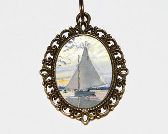 Sailboat, Monet Necklace, Fine Art Jewelry, Claude Monet, Artist,  Boat Jewelry, Sailing Boats, Oval Pendant