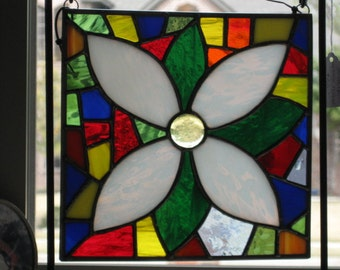 White Mosaic Flower Stained Glass Panel