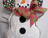 READY TO SHIP Snowman Burlap Door Hanger  Winter Scarf