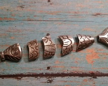 Solid Pewter Greek Worry Fish, Segmented 6 Section Fishy, Beadable Segment Fish Charm Pendant & Spacer