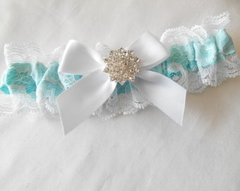 Prom Wedding Garter Single IVORY WHITE  BlacK and Light Blue Lace over Satin Custom Color a Beautiful Pearl and Rhinestone Cluster