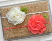 Chiffon Flower Headband - Shabby Chic Headband - Ivory Chiffon Headband - Coral Chiffon Headband