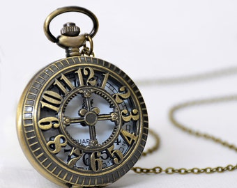 1pcs Large Hollow figures Watch Charms Pendant with chain /pocket watch/Bridesmaid , Christmas gifts, friends, children's gifts