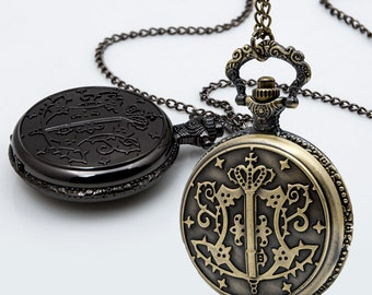 1pcs Large  The black deacon Charms Pendant with chain /pocket watch/Bridesmaid , Christmas gifts, friends, children's gifts