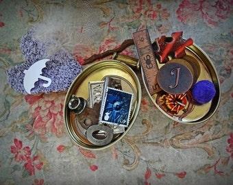 A Curiosity Tin, Altered Art, Mixed Media Supplies, Assorted Assemblage Bundle, Assemblage Supplies, Start up supplies