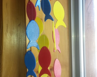 Primary Colors Wooden Fish Mobile