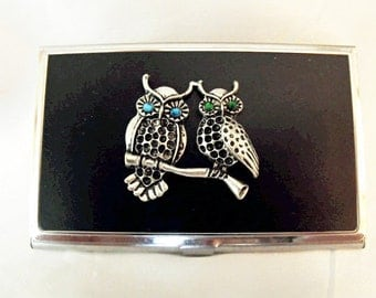 Steampunk Owls Business Card Credit Card Holder Blue Emerald Green Eyes