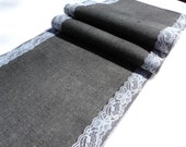 """Steel Gray Table Runners with Lace or Choose another Color 12"""" wide Burlap and Lace Table Runner"""