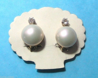 1950s Clip-on Earrings - White Mother of Pearl  & Rhinestones - MADE IN SPAIN - New/Old Stock