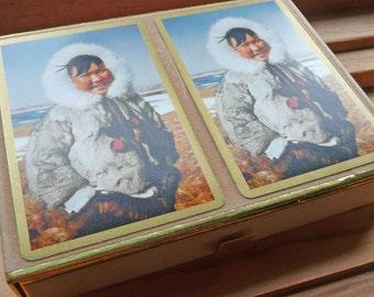 Double Deck Congress Playing Cards in Original Box Eskimo Canasta Alaska Or Canada Fur