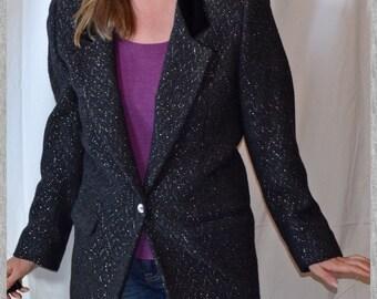 Sparkly black Dress Suit Coat Jacket from 1980s when Liz Claiborne was HOT!